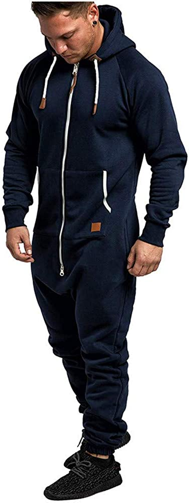QINGMM Mens Overall Onesie Plain Zip Up All in One Hooded Jumpsuit