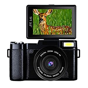 Digital Camera Vlogging Camera Full HD1080p 24.0MP Camera 3.0 Inch Flip Screen Camera with Retractable Flashlight Vlogging Camera for YouTube
