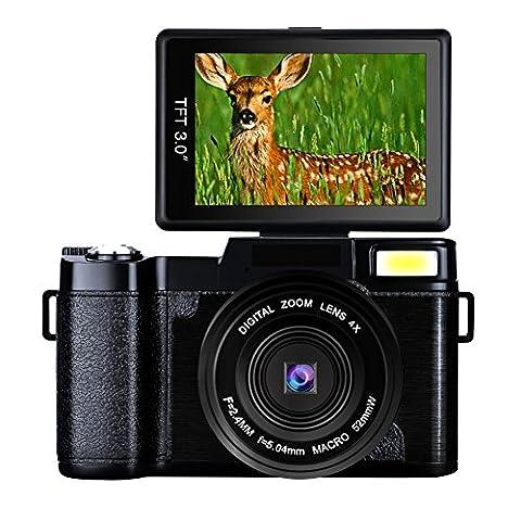 "Digital Camera Camcorder Full HD Digital Video Camera 1080p 24.0MP Retractable Flash Light 3"" Screen Video - Memory Lithium Ion Camcorder Battery"