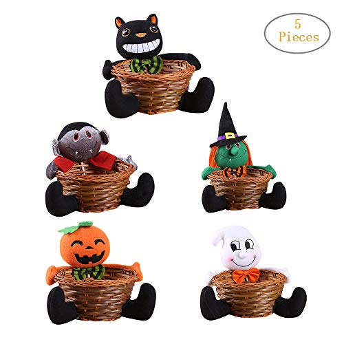 Transer- Cute Doll Halloween Hand-Woven Candy Storage Basket Decoration Storage Basket Gift to Serve/Display Holiday Candies Bowl Home Decor (Pack of -