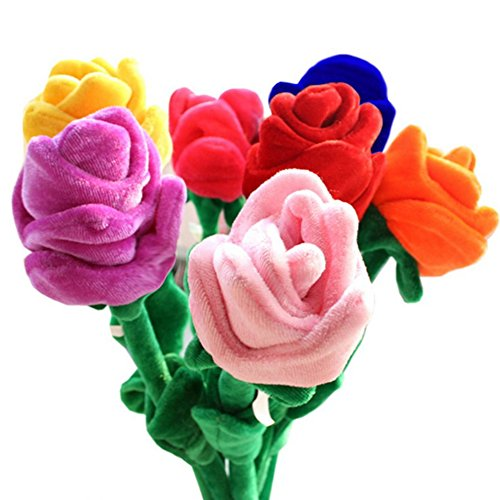 Fumingsi 8 Piece Colorful Bendable Stuffed Rose Plush Flower 12