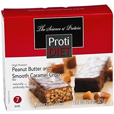 ProtiDiet - High Protein Diet Bar | Peanut Butter & Smooth Caramel Crisp | Low Calorie, High Fiber, Aspartame Free ( 7/Box )