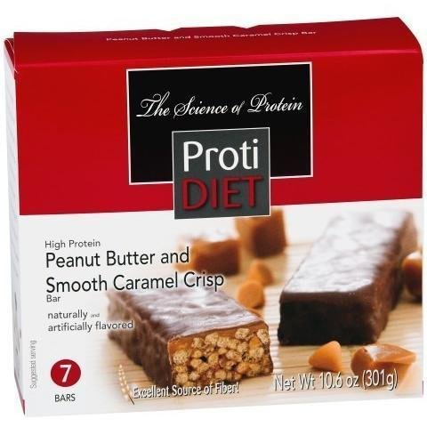 ProtiDiet - High Protein Diet Bar | Peanut Butter & Smooth Caramel Crisp | Low Calorie, High Fiber, Aspartame Free ( 7/Box )