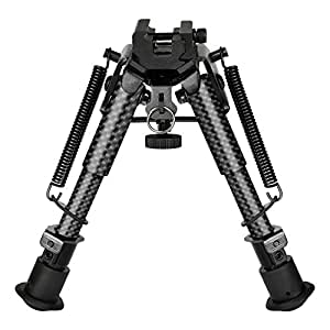MidTen 6-9 Inches Carbon Fiber Rifle Bipod with 20mm Adapter for Hunting and Shooting
