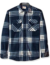 Authentics Men's Long Sleeve Plaid Fleece Shirt