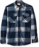 Wrangler Authentics Men's Long Sleeve Plaid Fleece Shirt Jacket, total eclipse plaid, XL