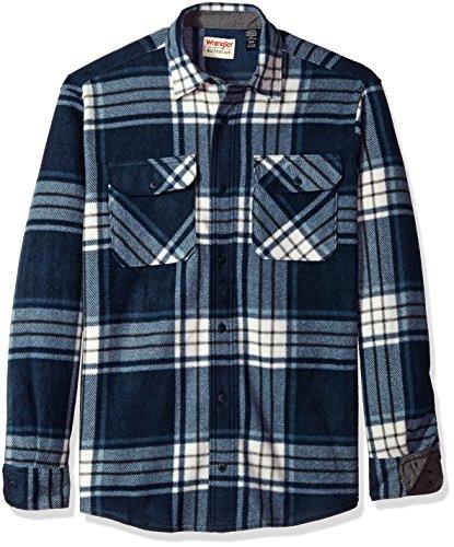 Wrangler Authentics Men's Long Sleeve Plaid Fleece Shirt, Total Eclipse, Small
