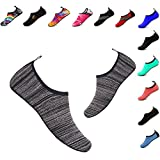 YALOX Water Shoes Women's Men's Outdoor Beach Swimming Aqua Socks Quick-Dry Barefoot Shoes for Surfing Yoga Exercise(LS-Black,40/41EU)