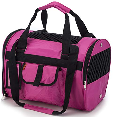 Prefer Pets 566 Jet Carrier for Pets (Fuchsia) – Airline Approved, Perfect for Small Animals, Dogs and Cats