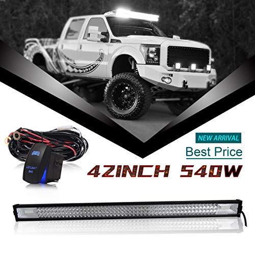 "DOT Triple Row 42"" Inch 540W Led Light Bar Combo Grill Windshield Bumper Light Bar + 1x Rocker Switch + 1x Wiring Harness for ATV Truck Jeep Wrangler Polaris RZR Golf Cart Dodge Chevy Ford Toyota"