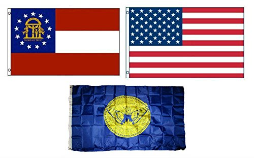 ALBATROS 3 ft x 5 ft American with City of Atlanta with State of Georgia Set Flag for Home and Parades, Official Party, All Weather Indoors -