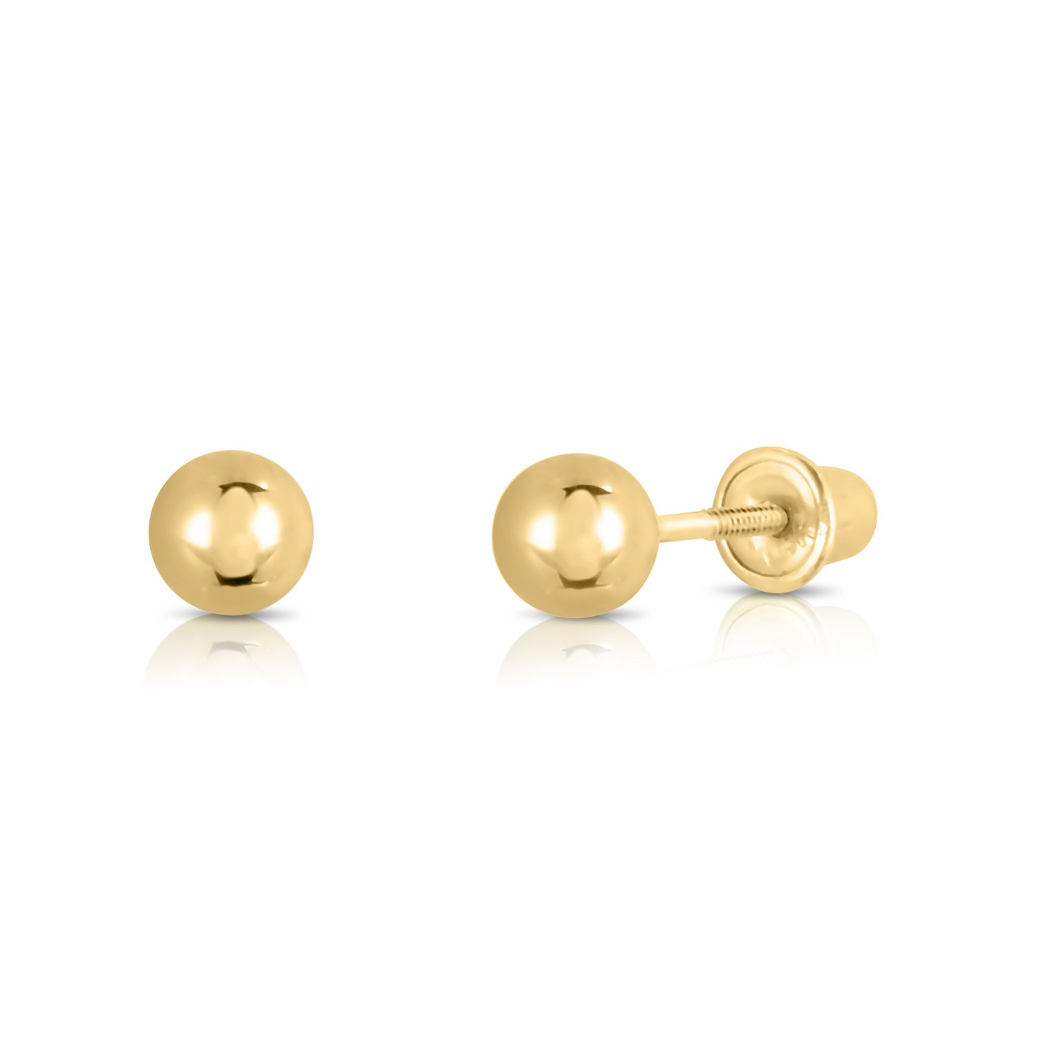4c58a9a6b 14k Yellow Gold Ball Stud Earrings with Secure Screw-backs NY Gold and  Silver Inc YGB-SC