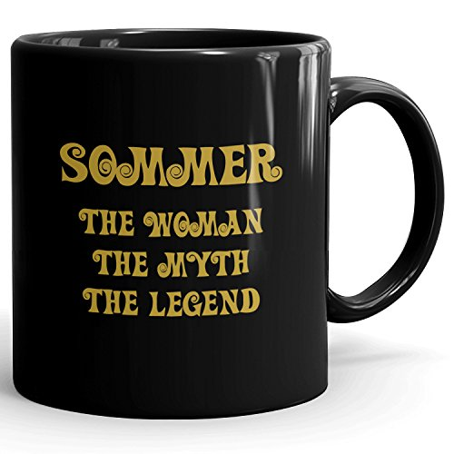 Sommer cup - The Woman The Myth The Legend - Ceramic Mug for Coffee, Tea & Chocolate - 11oz Black Mug - Gold Black 1