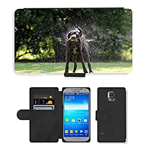 PU LEATHER case coque housse smartphone Flip bag Cover protection // M00109369 Perro Sacudir Imagen Schüttelnder // Samsung Galaxy S5 S V SV i9600 (Not Fits S5 ACTIVE)