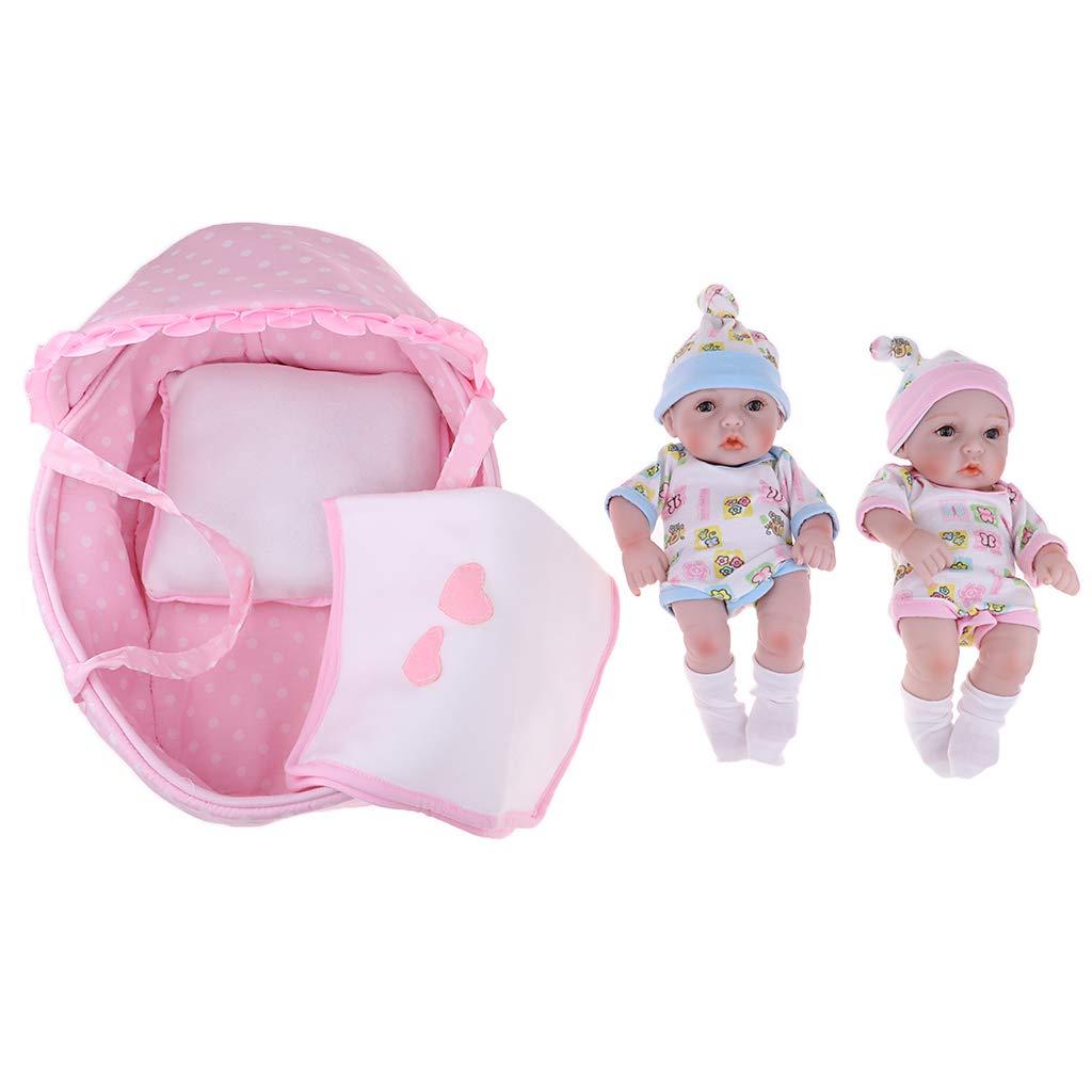 MagiDeal 1 Paar Niedliche Silikon Babypuppe Vinyl Realistische Zwillinge Baby Puppen im Korbdecke Spielzeug - 28cm B07GT5YRRD Babypuppen Angemessene Lieferung und pünktliche Lieferung   Clever und praktisch
