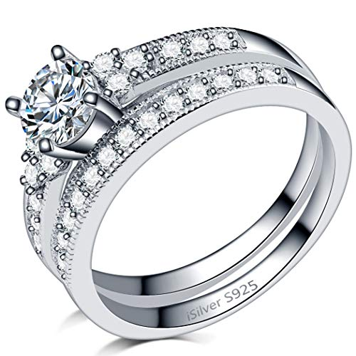iSilver 925 Sterling Silver Wedding Engagement Ring Set Anniversary Statement Propose (8) by iSilver