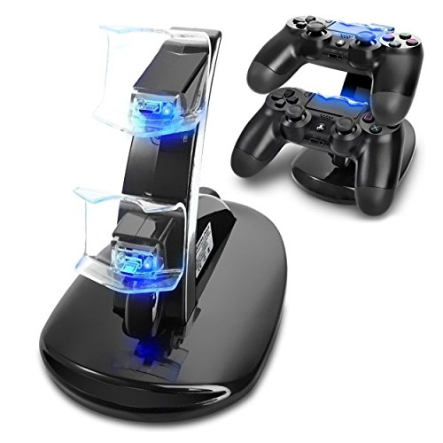 Charging Station,Bigaint Dual USB Docking Station Stand Charging Charger for Playstation 4 PS4/PS4 Slim/Pro Controller Lg Wood Clock