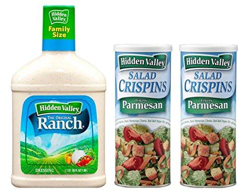 Hidden Valley Original Ranch Dressing, 36 Fluid Ounce Bottle, Plus Hidden Valley Salad Crispins Croutons, Italian Parmesan, 2.5 oz, Pack of 2