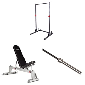 Good CAP Barbell Power Rack Exercise Stand, Deluxe Utility Weight Bench, And  Olympic Bar (