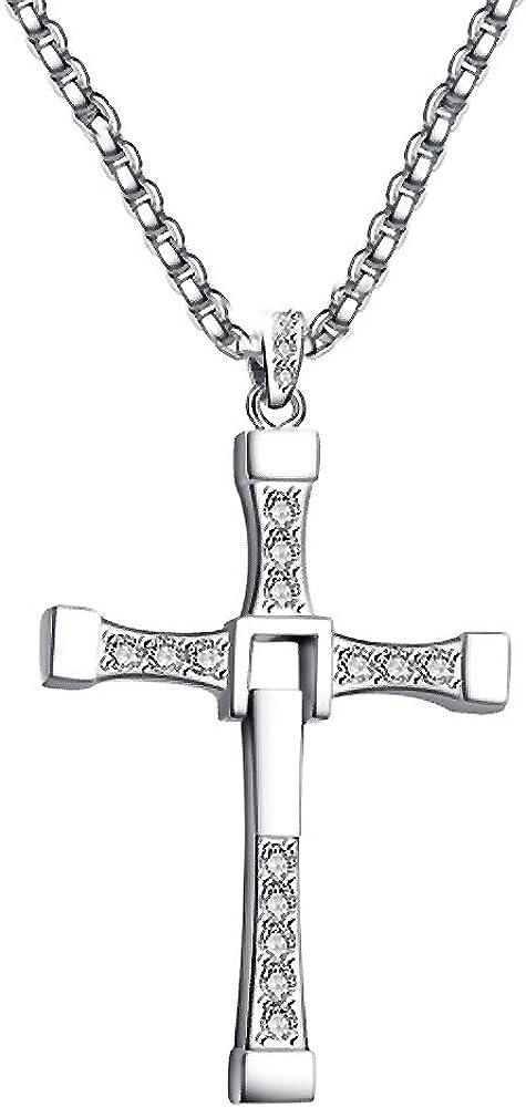 Paialco - Collar con colgante de cruz grande para hombre de plata de ley con piedras de 50,8 cm