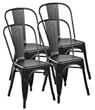eurosports Tolix Style Chair 3004-MB-4 Metal Kitchen Dining Chairs with Back, Set of 4 Matt Black