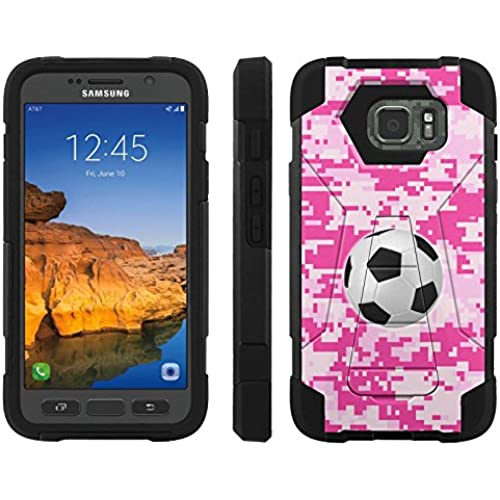 AT&T [Galaxy S7 Active] ShockProof Case [ArmorXtreme] [Black/Black] Hybrid Defender [Kickstand] - [Pink Camo Soccer] for Samsung Galaxy [S7 Active] Sales