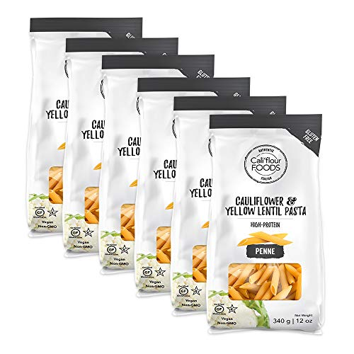 NEW Cali'flour Penne: Cauliflower & Yellow Lentil High-Protein Pasta - Made With Just Two Ingredients, No Added Sugar or Preservatives - Grain Free, Kosher, Plant-Based, Low-Glycemic (6 Pack)