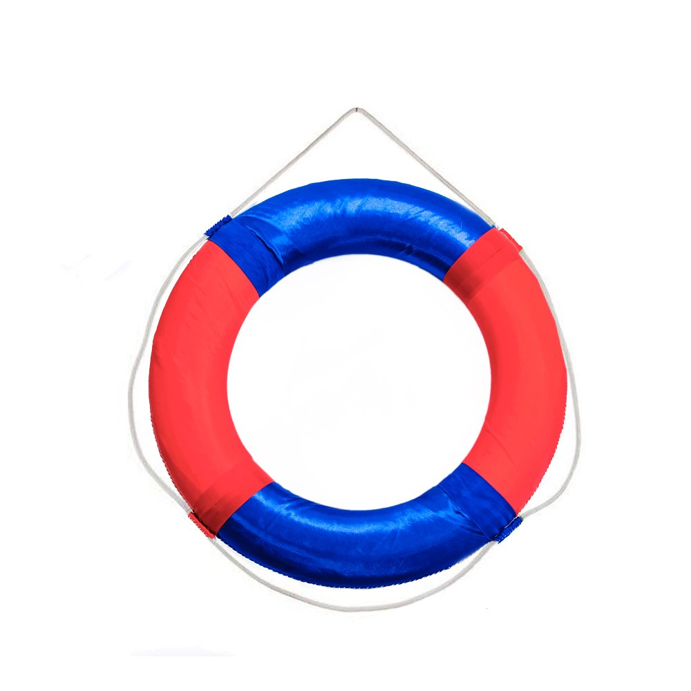 Lifebuoy Ring 58cm/23inch Diameter Swim Foam Ring Buoy Children Swimming Pool Safety Life Preserver with Perimeter Rope Red with Blue
