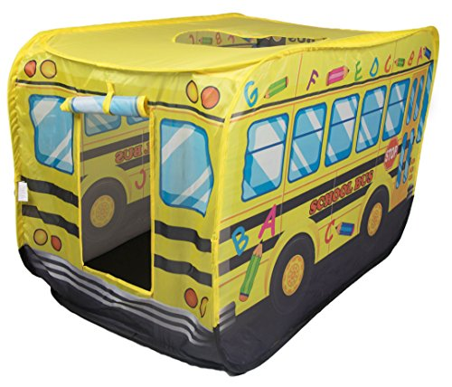 School Bus Indoor/Outdoor Play Tent by Clever Creations | School Bus Design Perfect for Truck Themed Room | Hideout for Kids | Simple, Fast Set up and Takedown | No Tools Needed | Creative Play Tent