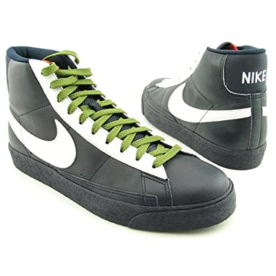 NIKE Men's Blazer Hi Premium Dark Obsidian/White-Green 312457-412 Shoe 8