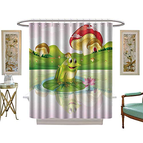 Leigh R. Avans Shower Curtains with Shower Hooks Cute Frog Water Lily with Mushrooms The Background Nature Satin Fabric Sets Bathroom (Leigh Tie Silk)