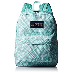 "JanSport Womens Classic Mainstream Superbreak Backpack - Aqua Dash Jagged Plaid / 16.7""H X 13""W X 8.5""D"
