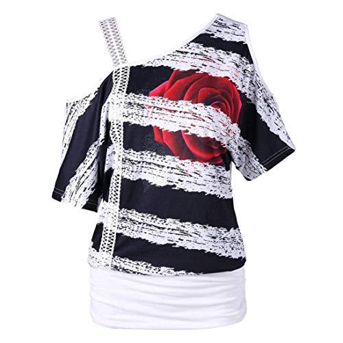 Accogliente Floreale One T Shirts Shoulder Camicia Stlie Tshirts Senza Grazioso Eleganti Pattern Bianca Donna Spalline Estivi di Manica Corta Shirts Moda Libero Stampate Tempo Moda FCFq6wx