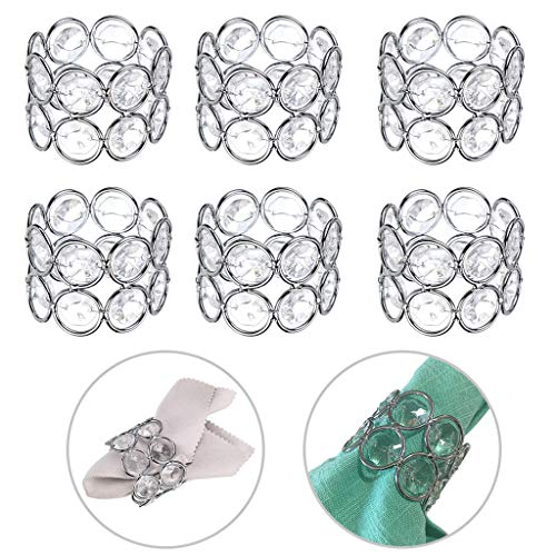 (OwnMy Set of 6 Silver Tone Crystal Beads Napkin Rings Handcraft Sparkly Elegant Napkin Holders for Wedding Party Dinner Table Decor (Silver Tone))