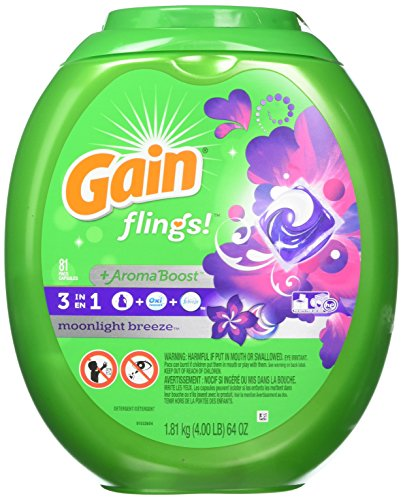 Price comparison product image Gain Flings Moonlight Breeze Laundry Detergent Packs, 81 Count