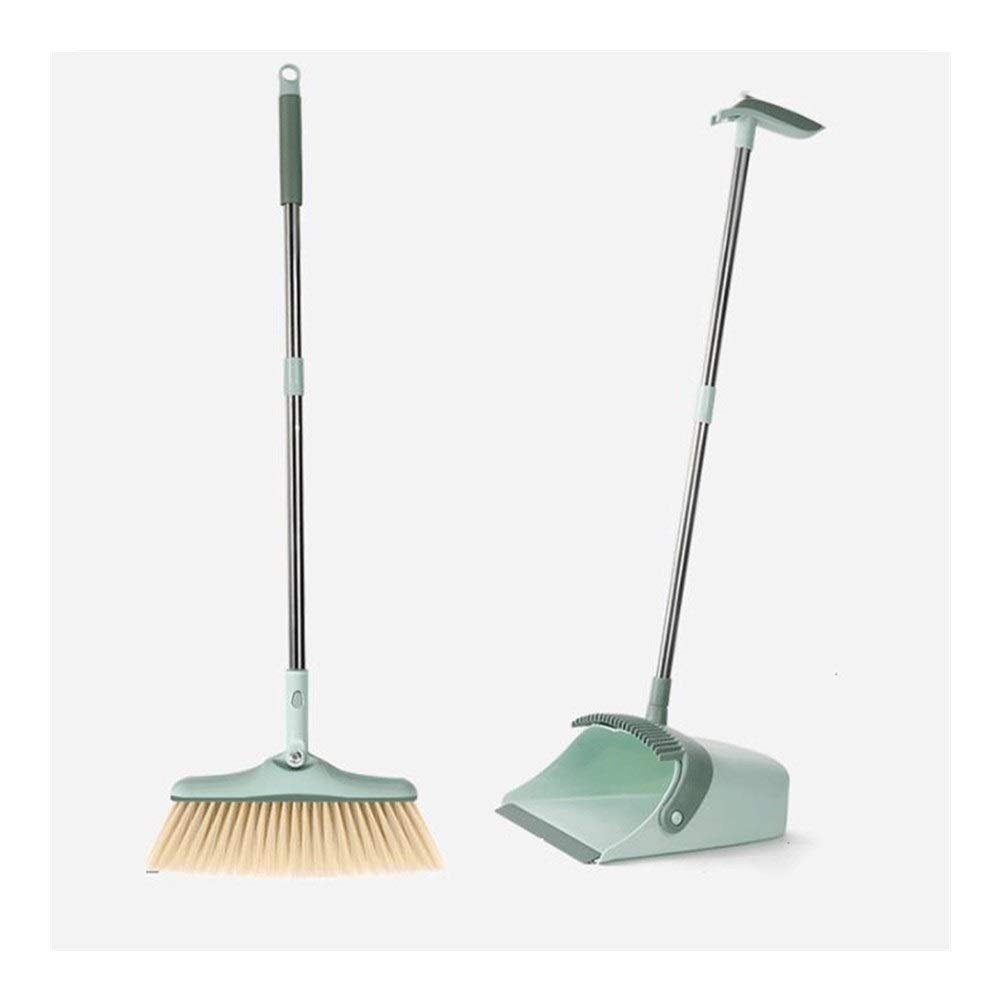 Stainless Steel Rod Non-stick Hair Soft Brush Broom And Dustpan Extra Long Handle Rotatable Broom Set Home Kitchen Office Toilet Cleaning Tools (Color : Green) by HBKJ3