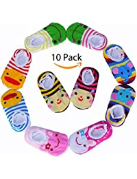 10 Pairs Baby Socks Cute Animal Toddler Socks Anti Slip Skid Cartoon Socks for 5-20 Months Babies and Infants Stripes Boat Ankle Socks Baby Shoes Socks …