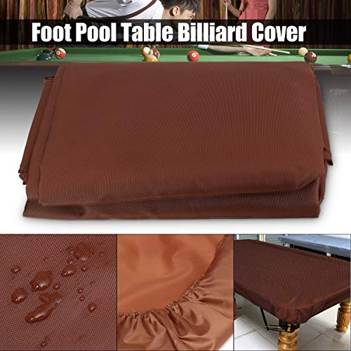 dDanke Coffee Billiard Pool Table Cover Waterproof Dustproof Cloth for 8 Foot Tables 102.3 X 59.06 Inch (Billiard Tablecloth Table Accessories)