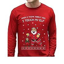 TeeStars - I Touch My Elf Ugly Christmas Sweater Long Sleeve T-Shirt XX-Large Gray