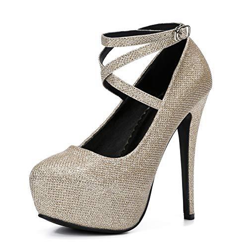 fereshte Women's Ankle Strap Platform High Heels Party Dress Pumps Shoes Glitter Gold EU39 ()