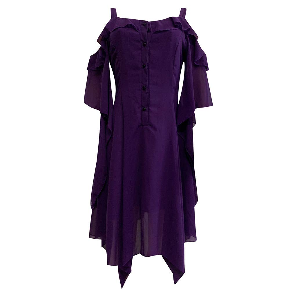 Party Mini Dress,Women Black Steampunk Gothic Victorian Ruffled Dress,O Neck Flare Sleeve Cut Out Lace Cosplay Costumes (1-Purpel, 2XL)