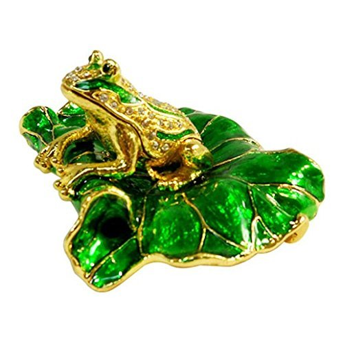 - FROG ON LOTUS-Decorative Bejeweled Crystal diamond Jewelry Trinket Box JF2736