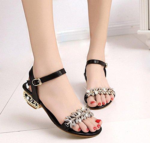 Sommer Sandalen mit niedrigen Absätzen Strass Sandalen Frauen flache Sandalen und Pantoffel, dick mit offenen Schuhen Frau Schwarz