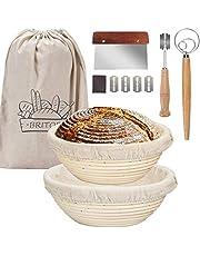 BRITOR Proofing Basket, 9 Inch Bread Proofing Basket, Bread Lame,Dough Scraper,Linen Liner Cloth,Dough Whisk,Storage Bag, Proofing Basket Kit