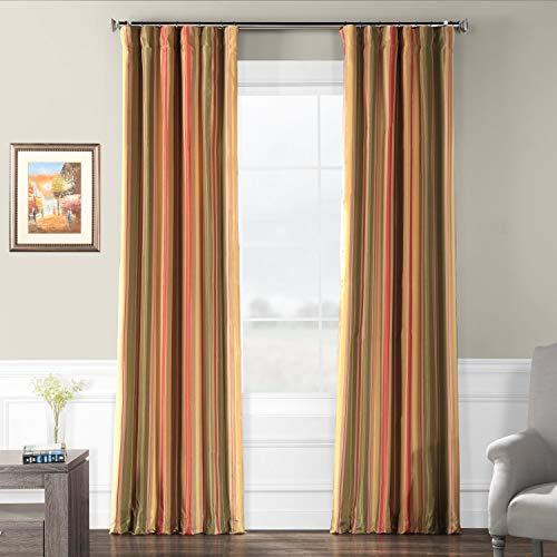 Half Price Drapes PTSCH-52012-120 Faux Silk Taffeta Stripe Curtain, Mirage