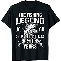 Mens 50th 1968 Birthday Gifts For Fisherman Fishing Dad T shirt