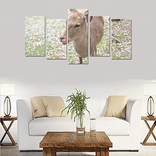 YKNFIS Deer and Cherry Blossoms (no Frame) Canvas Print Sets Wall Art Picture 5 Pieces Paintings Posters Prints Photo Image On Canvas Ready to Hang for Living Room Bedroom Home Office Wall Decor