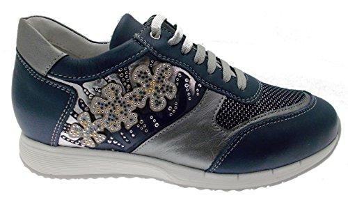 sneacker Bleu C3791 Loren Femme orthopédique Chaussure Lacets W0IxHpqA