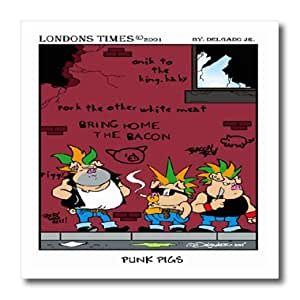 ht_1409_2 Londons Times Funny Animals Cartoons - Punk Pigs - Iron on Heat Transfers - 6x6 Iron on Heat Transfer for White Material
