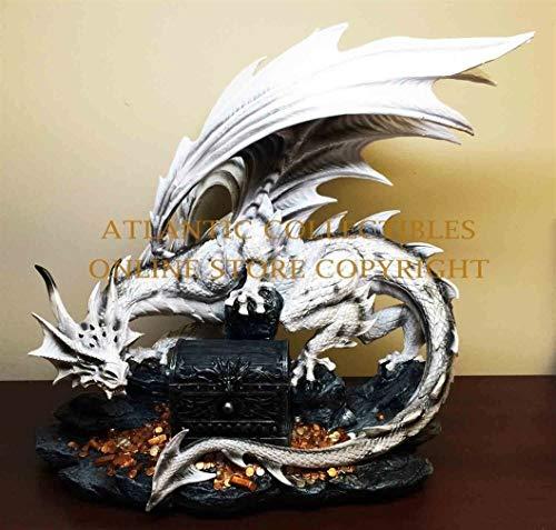 (Ky & Co YesKela Large Great White Dragon Guarding Druid Treasure Box Figurine and Utility Box)